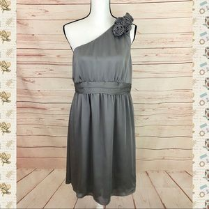 Merona NWOT Gray One Shoulder Formal Dress